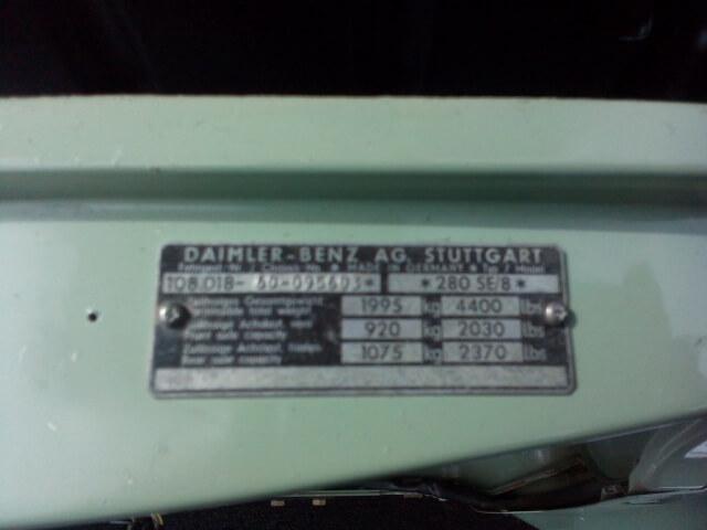1972 Mercdes 280SE (W108) Manual RHD SOLD!