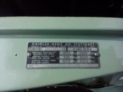 1972 Mercdes 280SE (W108) Manual RHD